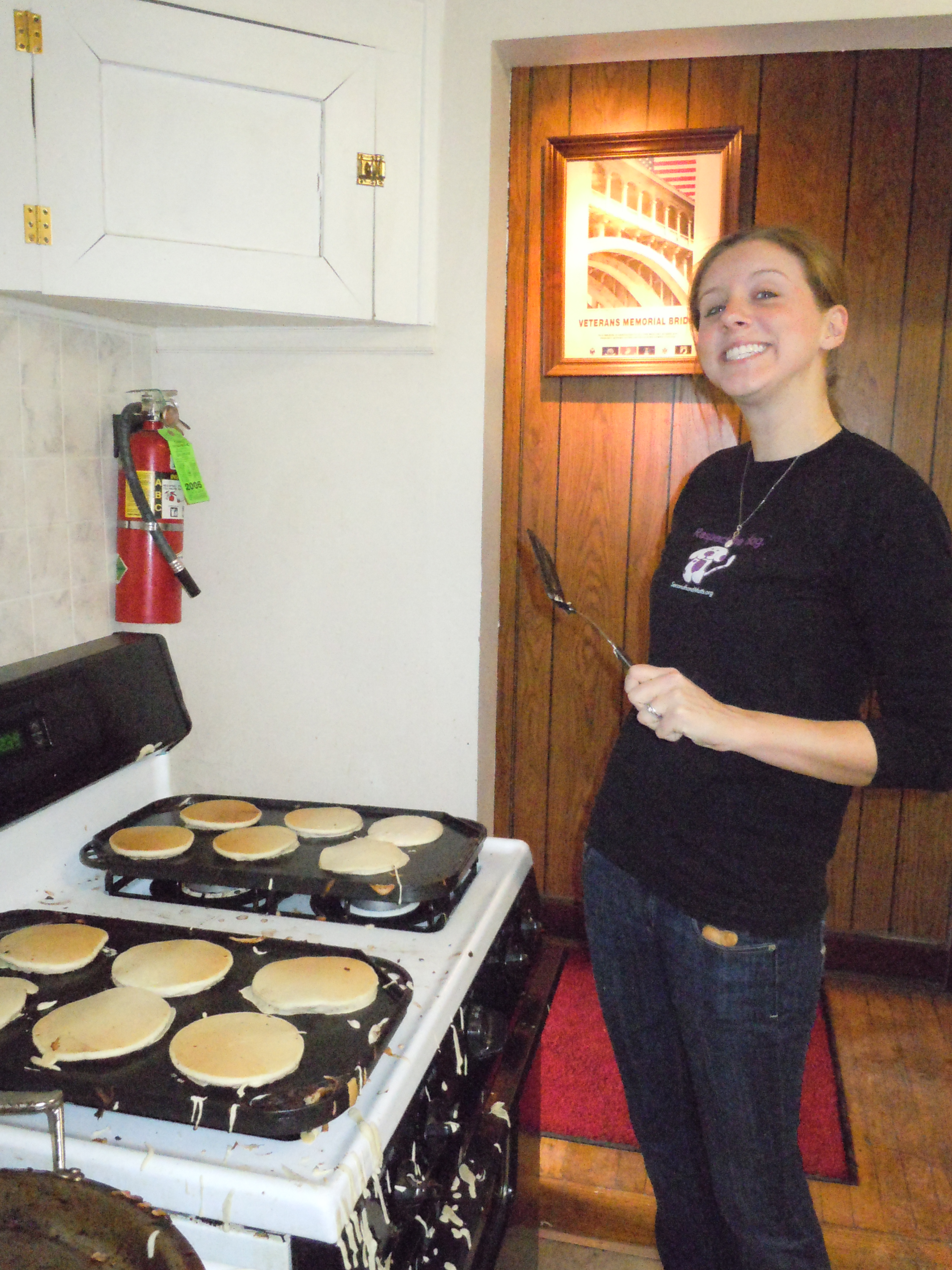 Sara volunteering as a pancake flipper at the 2011 3rd Annual Barkfeast